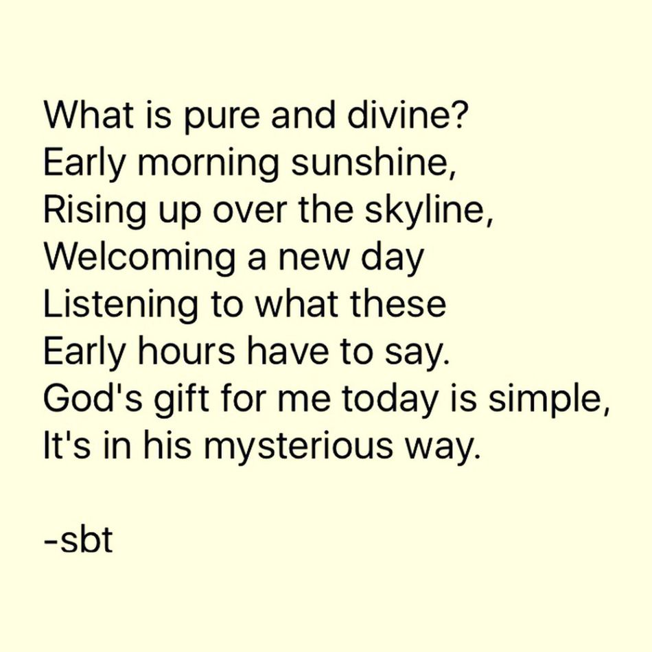 What is pure and divine? Early morning sunshine, Rising up over the skyline, Welcoming a new day Listening to what these Early hours have to say. God's gift for me today is simple, It's in his mysterious way. -sbt SB Terry© Wrote That Chicago Quotes