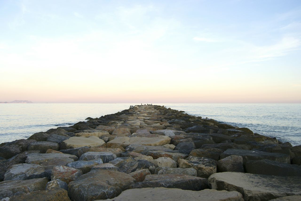 Calm Sea Calm Horizon Horizon Over Water Far Stonestructures Stones Point Of View Perspective Sunset_collection Sunset Fisherman Sea View Seaside Seascape Sea And Sky Sea Alicante, Spain El Campello Relaxing Stones & Water Beachphotography Beach Enjoying Life Alicante