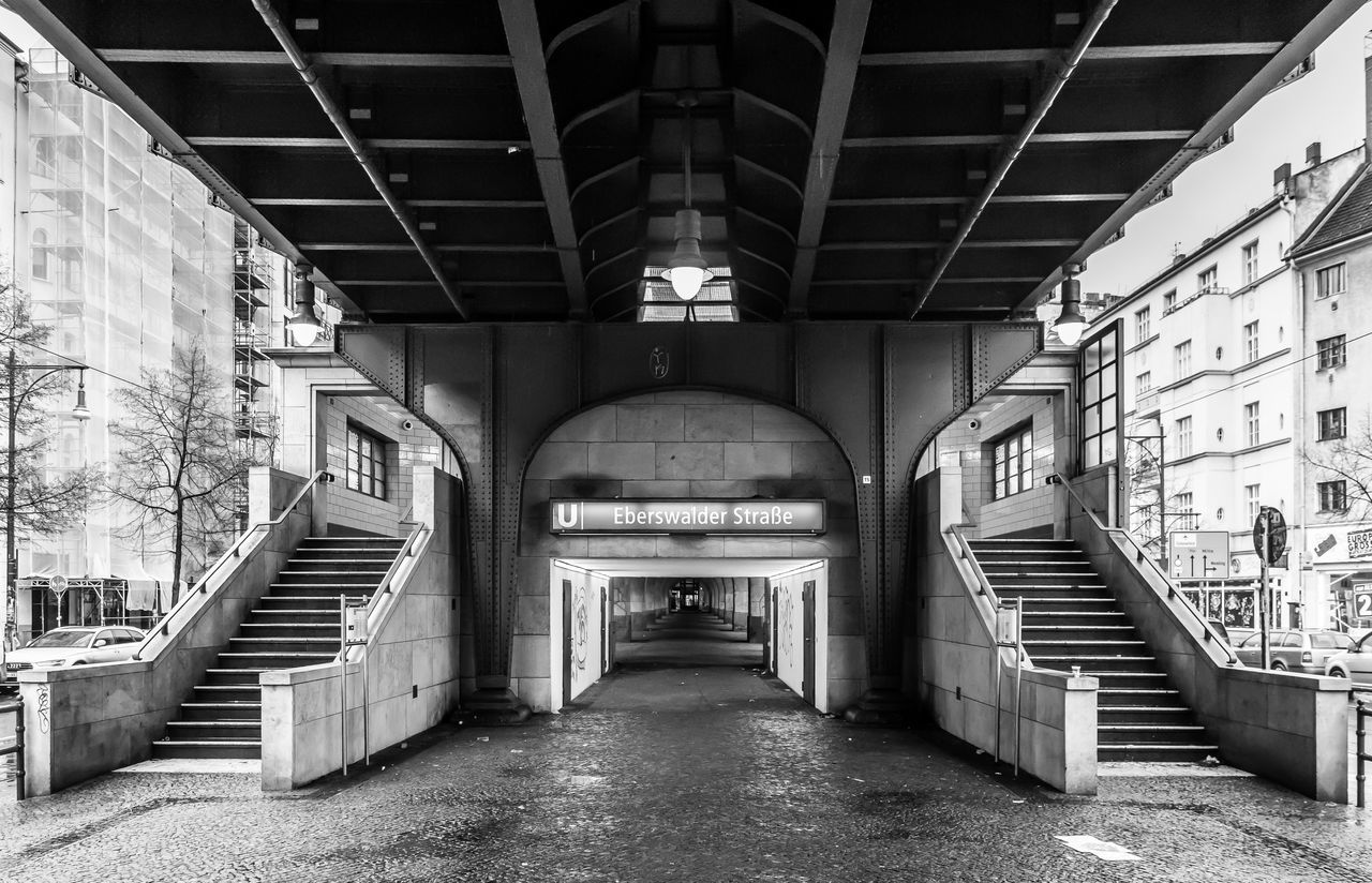 Architecture B&w Berlin Photography Berliner Ansichten Black And White Built Structure Eberswalder Str. No People Sign Staircase Steps And Staircases The Way Forward U-Bahnhof Urban Urban Exploration Viaduct Viadukt