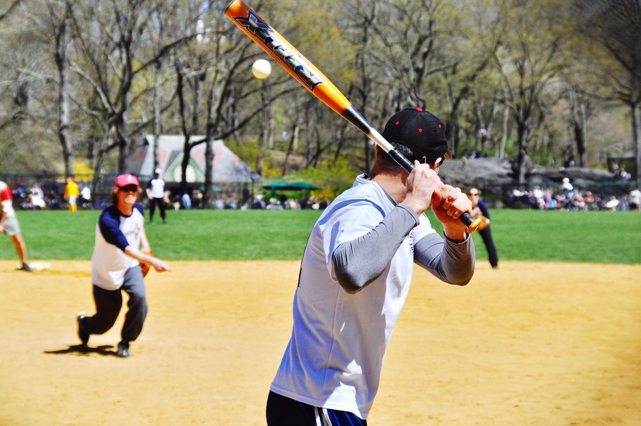 Baseball - Sport Sport Playing Leisure Activity Competition Baseball - Ball Motion Baseball Bat Baseball Uniform Sports Clothing Outdoors Batting Central Park - NYC