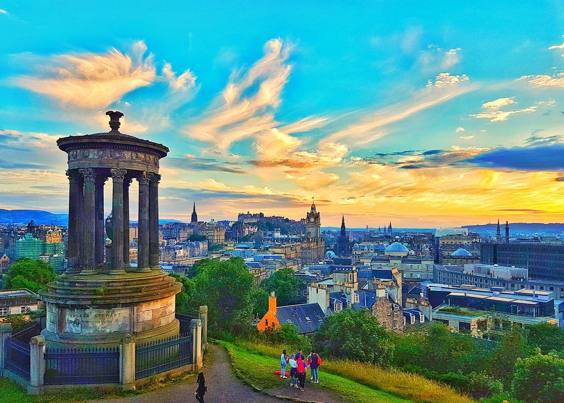 Sunset over Calton Hill, Edinburgh Dugald Stewart Monument Calton Hill Edinburgh Scotland VisitScotland Sunset Sky First Eyeem Photo