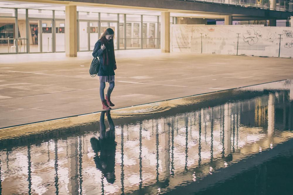 First Eyeem Photo Tel Aviv Architecture Reflection Fountain Habima Opera Square Tel Aviv Israel Waves Water Girl