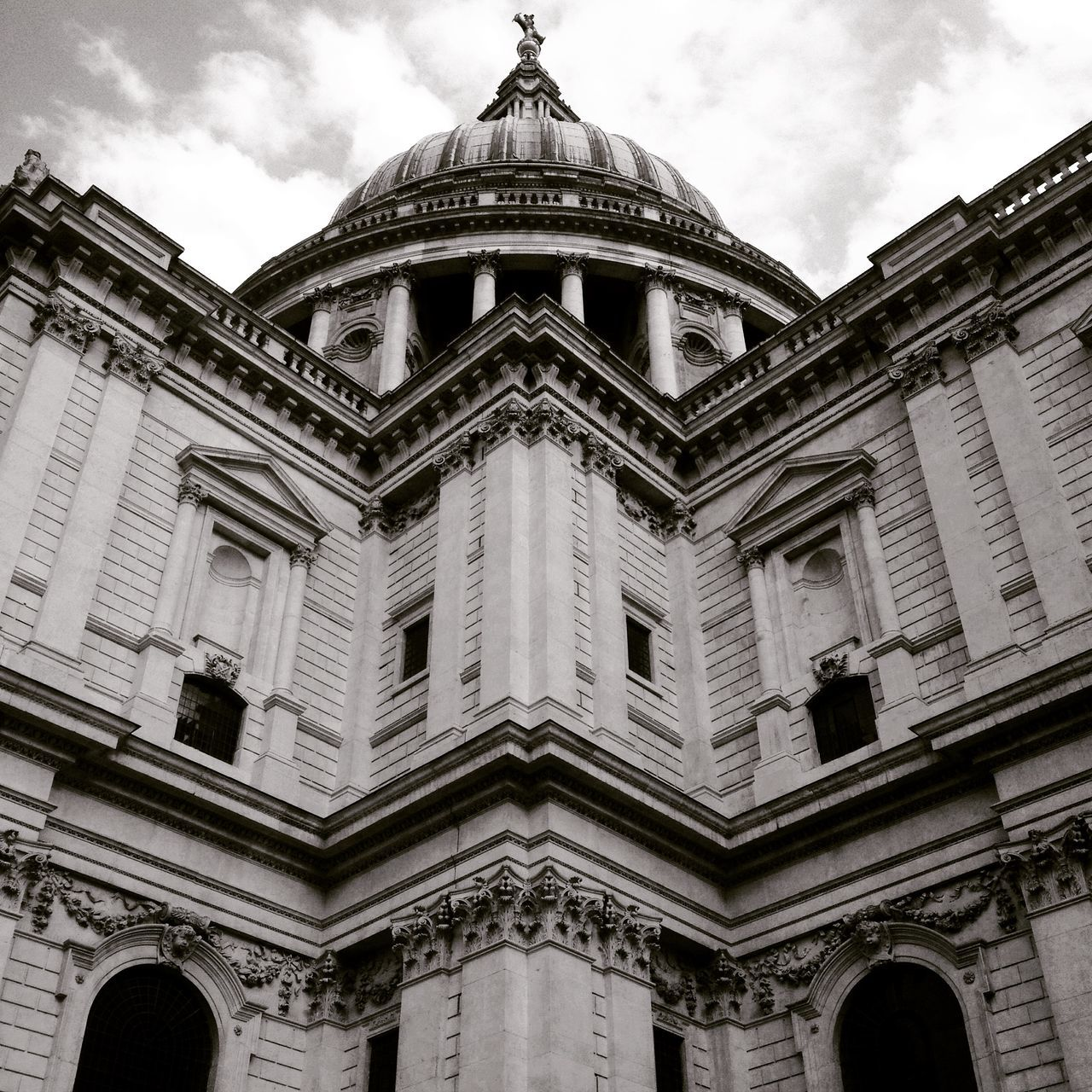 Looking up at St Paul's Cathedral in London. Black and white. Close up details of St Paul's Cathedral by Christopher Wren. Architecture Architecture Architecture Facade Architecture Photography Architecture_bw Architecturelovers Architecturephotography Architectureporn Building Exterior Built Structure City Of London City Of London Tourism Cloud - Sky London London Architecture LONDON❤ Low Angle View No People Outdoors Pediment St Paul's Cathedral St Paul's Cathedral London St Pauls Cathedral