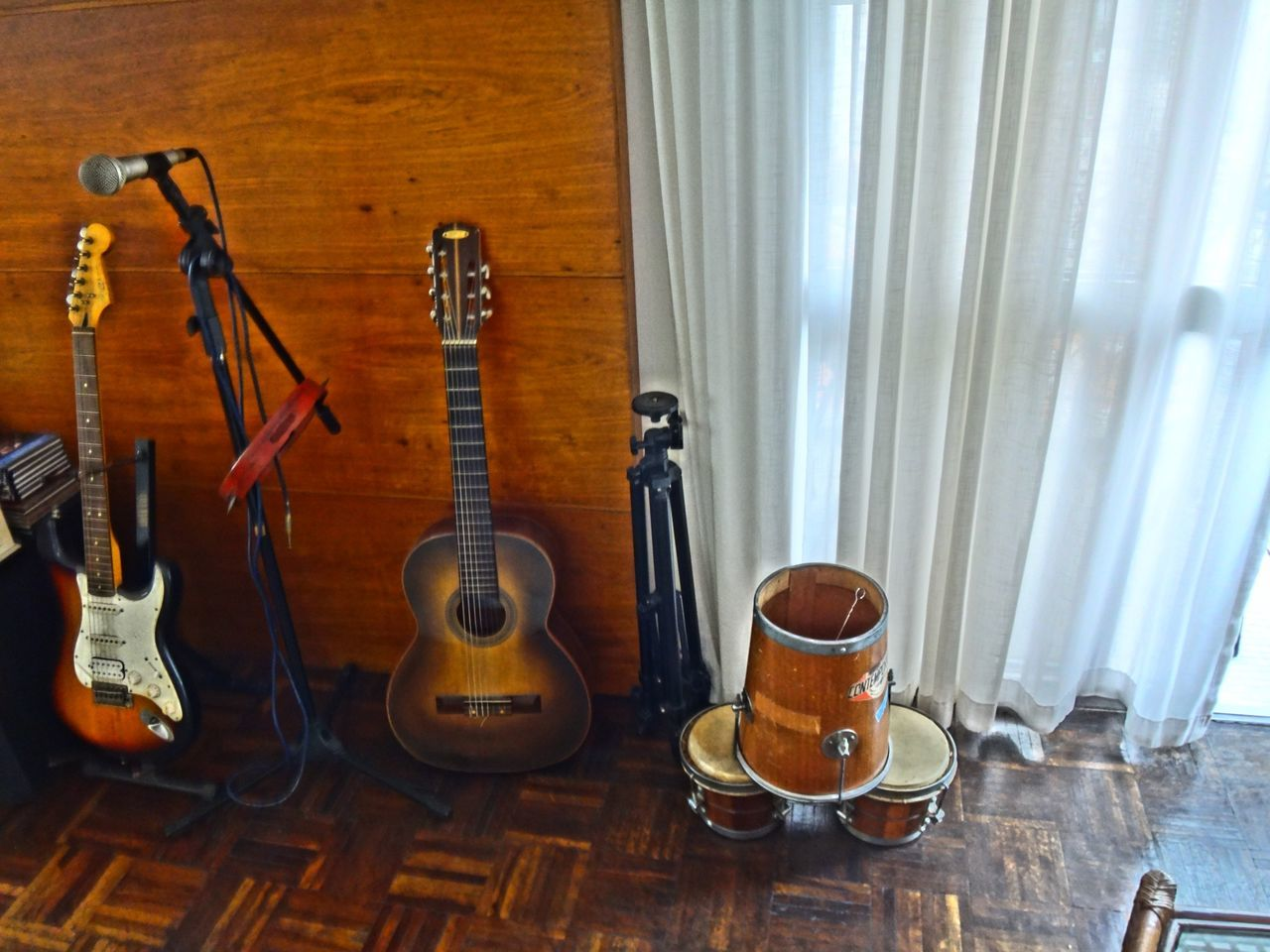 musical instrument, music, curtain, indoors, no people, window, guitar, day, arts culture and entertainment, hanging