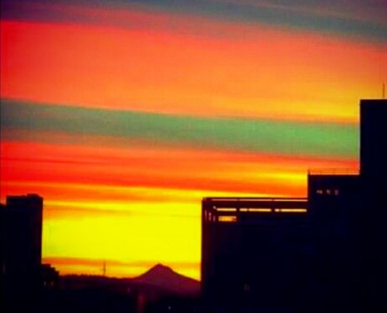 Sunset Orange Color Silhouette Illuminated Outdoors No People Dusk Multi Colored Building Exterior Built Structure Night Nature Sky Architecture Neon Beauty In Nature City VariousColors Awesome_captures Art Is Everywhere Moments In Time! My Year My View Getting Inspired Cellphone Photography Creative Photography