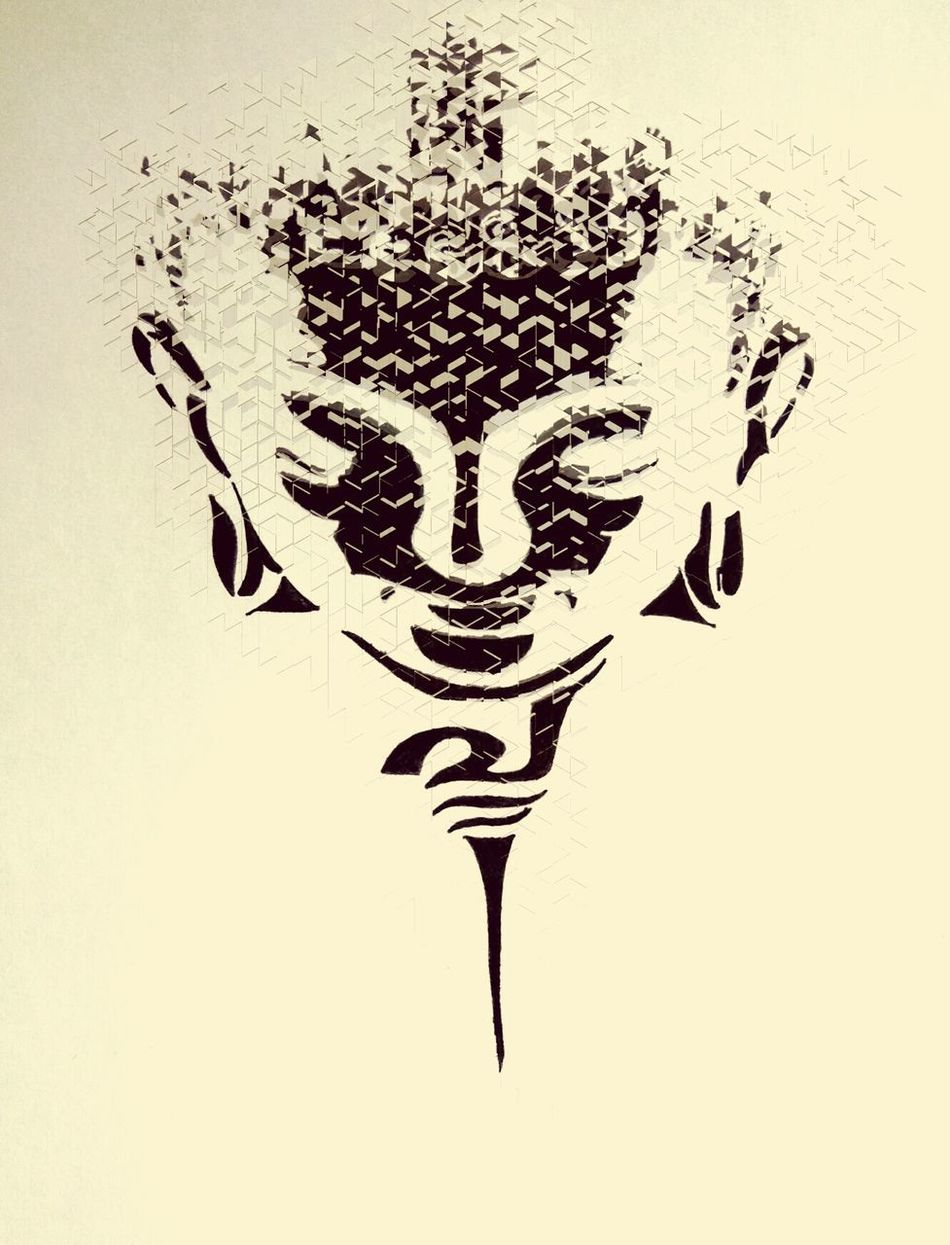 Cut And Paste Gautam Buddha Sketch Ink Close-up Original Photo My Art Bhawana