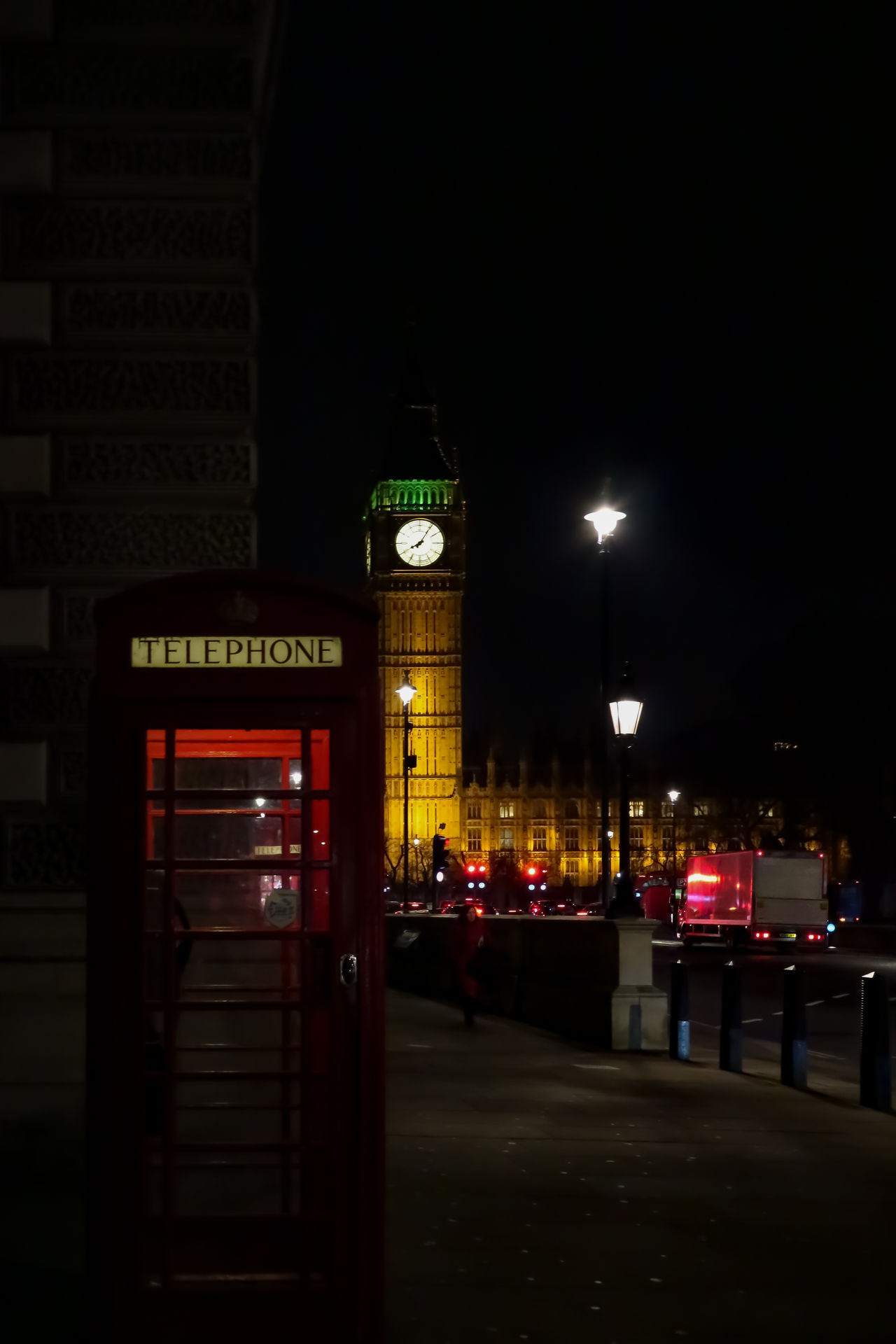 Architecture Big Ben Building Exterior Built Structure City City Gate City Life Clock Clock Tower Communication Cultures Illuminated London Night No People Outdoors Phone Box Red Street Telephone Telephone Booth Tour Traffic View Westminster