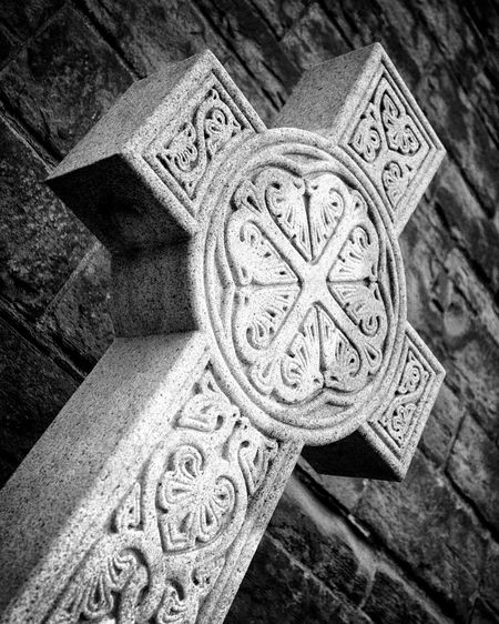 Architectural Feature Architecture Art Carving Carving - Craft Product Celtic Christian Close-up Cross Celtic Design Granite Historic History Icon Ornate Religion Scotland