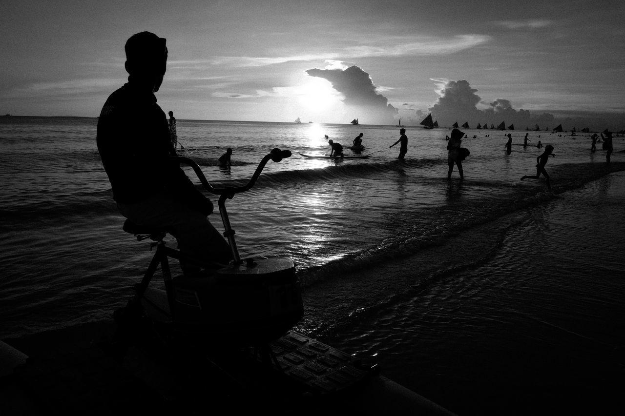Fujifilm X-Pro2 XF18mmF2R. July 2016. Boracay Island, Aklan. Street Photography Monochrome Photography Eyeem Philippines Monochrome XF18mmF2.0 Xf18mm Fujifilm_xseries Fujifilm X-pro2 Silhouette Cloud - Sky Seascape Scenics Beach Life