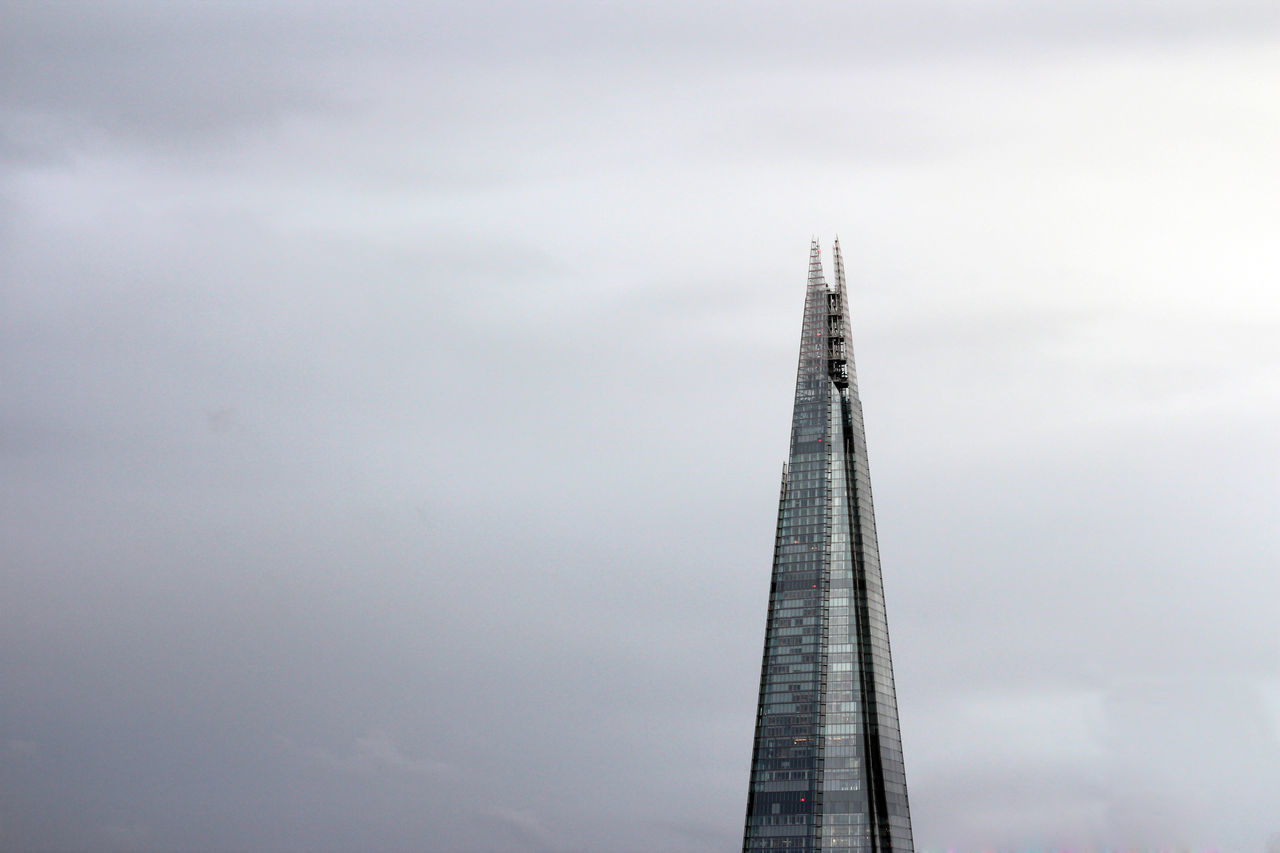 The Shard on a grey, cloudy day Architecture Built Structure City Cloud - Sky Day Gray Gray Sky Grey Sky London London Skyline Low Angle View Nature No People Outdoors Shard Shard London Sky Skyscraper Skyscrapers Skyskraper The Shard The Shard Building The Shard, London
