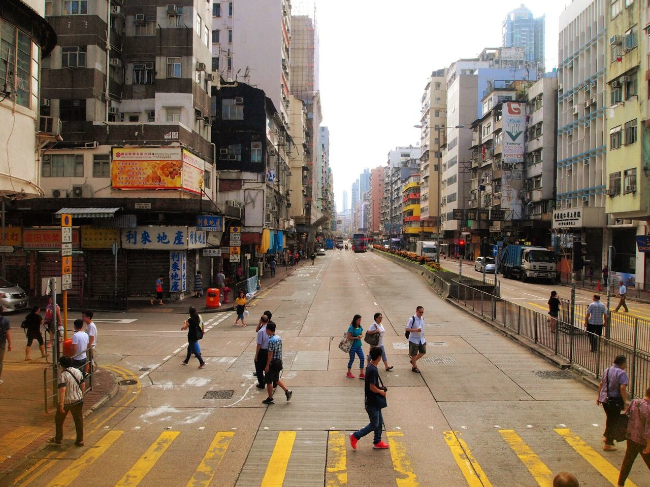 City Street Building Exterior Neighborhood Bus View Front Seat HongKong Adapted To The City