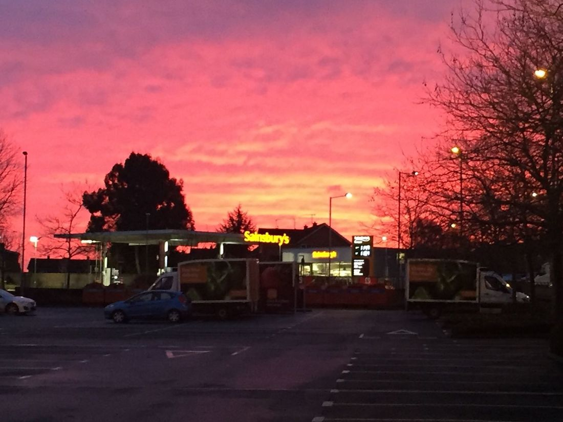 Christmas Eve sunrise over Sainsbury's in Worcester