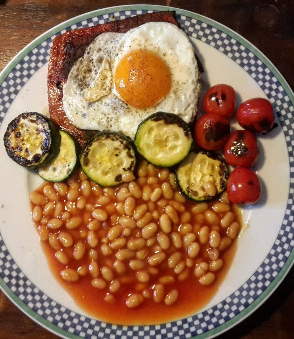 Ready-to-eat Food Fried Egg English Breakfast Heinzbeans Breakfast Time Yummy Freshness Food And Drink Indoors  Plate Serving Size Healthy Eating No People Close-up Egg Yolk Day