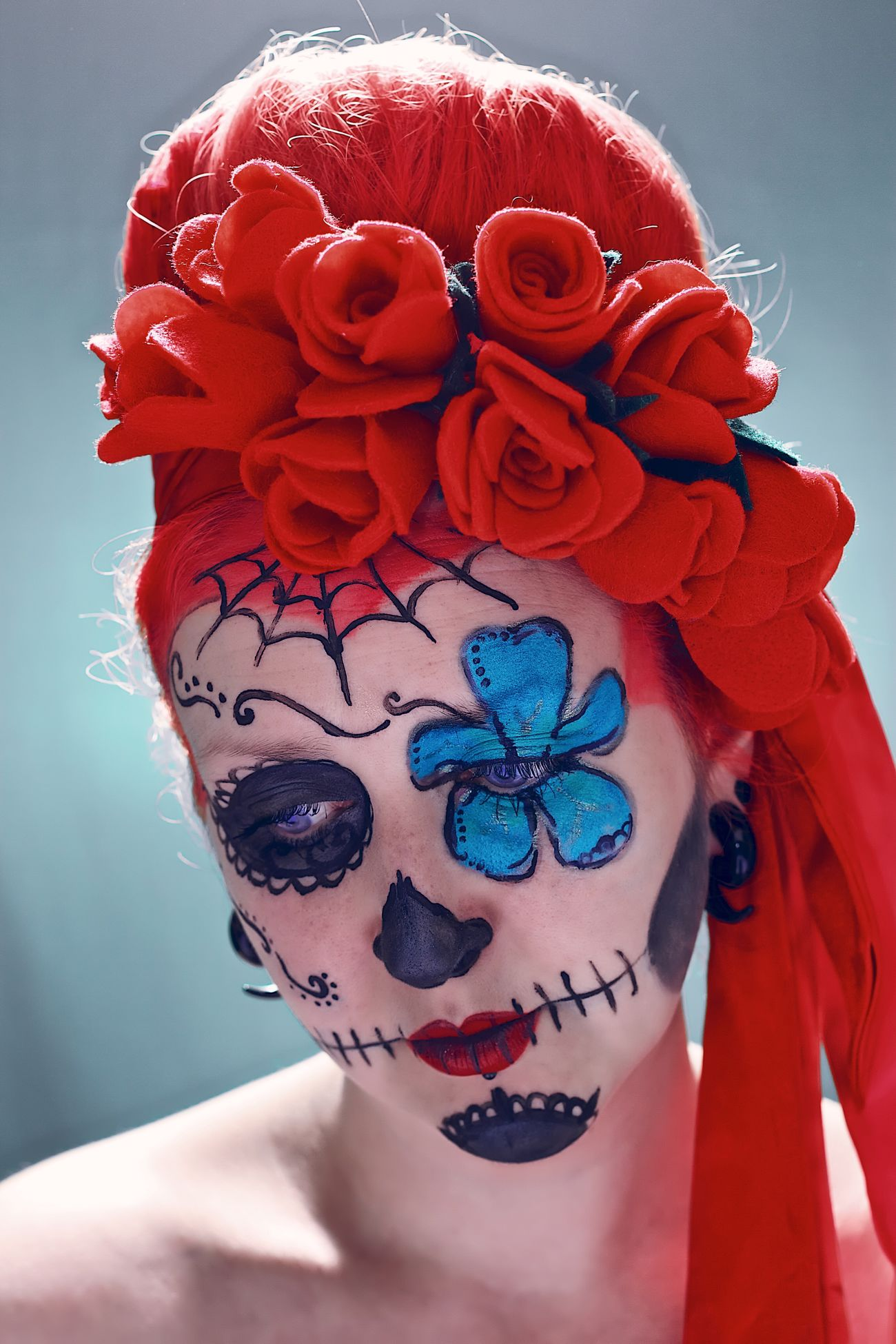 Portrait of my wife Sugarskull Dios De La Muerte Makeup Roses Woman