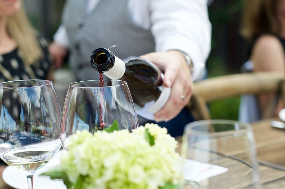 Mealtime Wine Pouring Wine Red Wine Dinner Party Outdoors Dinner Party