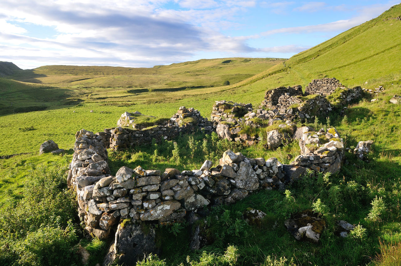 Stone Structure On Grassy Landscape At Isle Of Skye
