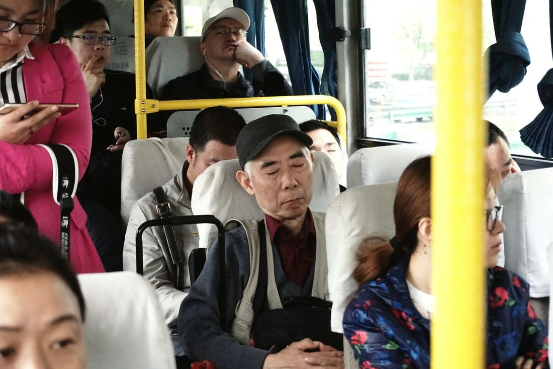 On The Way Showcase July Bus Man Man Sleeping Old Man People Sleeping My Shanghai People On The Bus at Shanghai, China People Together Snap a Stranger Traveling Home For The Holidays