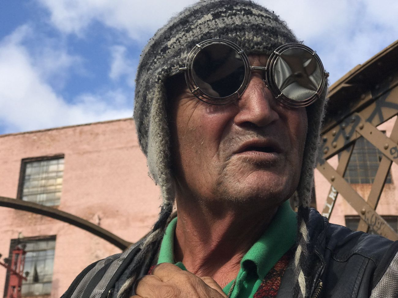 """""""Googleman"""". April, 2017. Shootermag Streetphotography Portrait Real People One Person Headshot Mid Adult Men Mature Men Outdoors Looking At Camera Day Front View Mid Adult Low Angle View Mature Adult Lifestyles Building Exterior Sky Cloud - Sky Built Structure Architecture Smiling"""