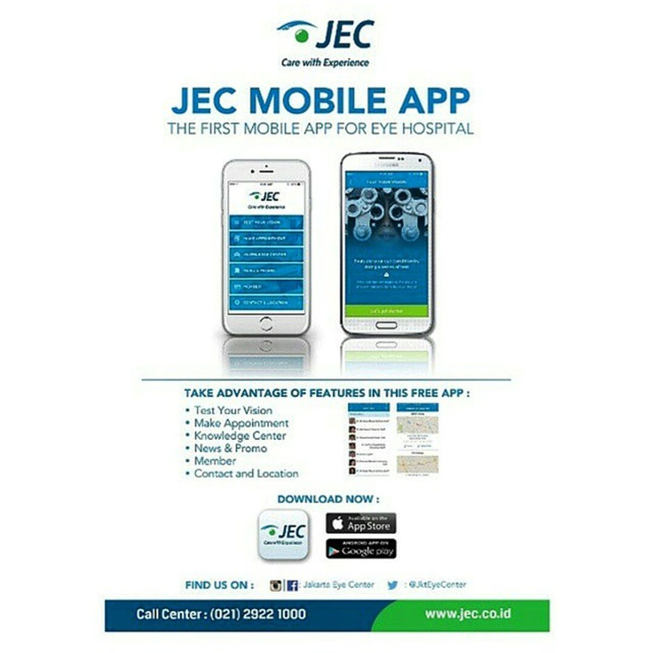 JEC mobile app. The first mobile app for eye hospital only @jakartaeyecenter Mobileapp Application JakartaEyeCenter JEC eyehospital rumahsakitmata aplikasi healthapplication JktEyeCenter