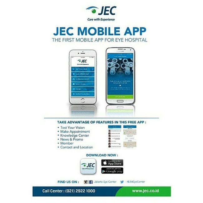 JEC mobile app. The first mobile app for eye hospital only @jakartaeyecenter Mobileapp Application JakartaEyeCenter JEC eyehospital rumahsakitmata aplikasi healthapplication JktEyeCenter