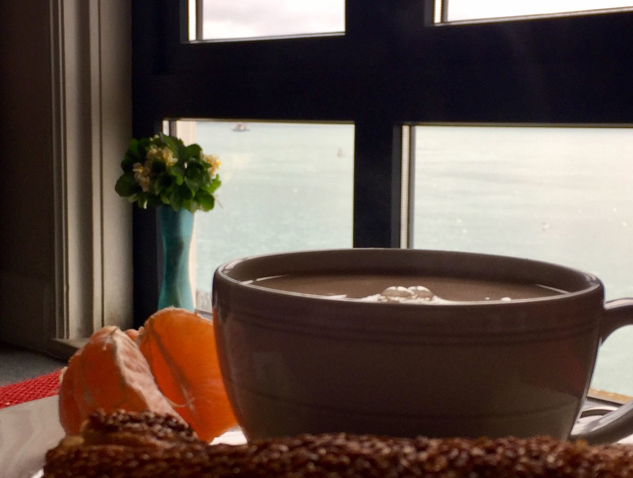 Good morning 🌞 Happy Sunday Breakfast Tea CoffeeFood And Drink Indoors  Sea Window