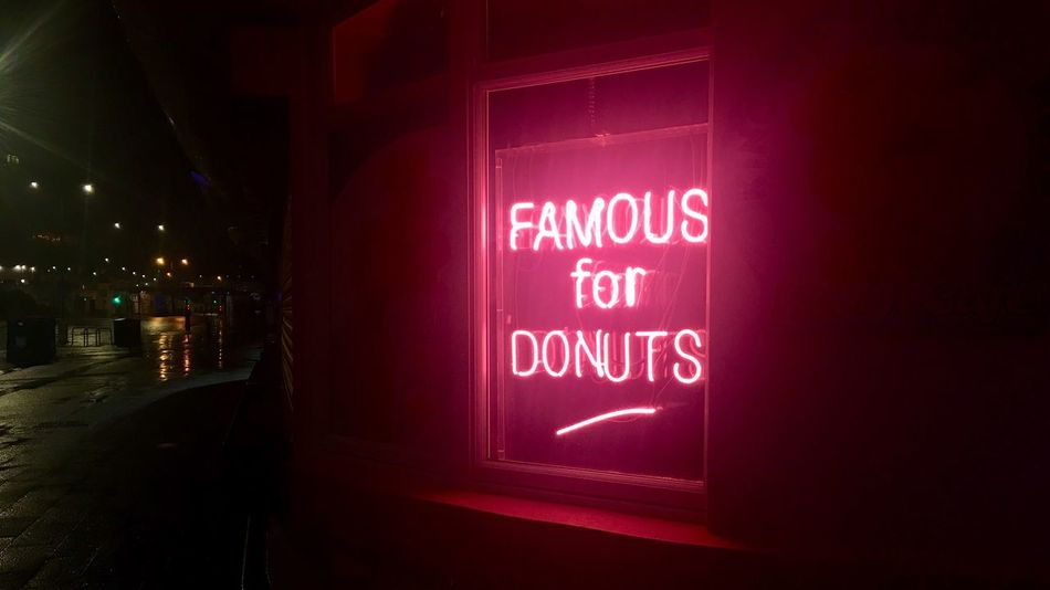 Neon Doughnuts. Beautiful Rain Night Illuminated Night No People Neon Architecture