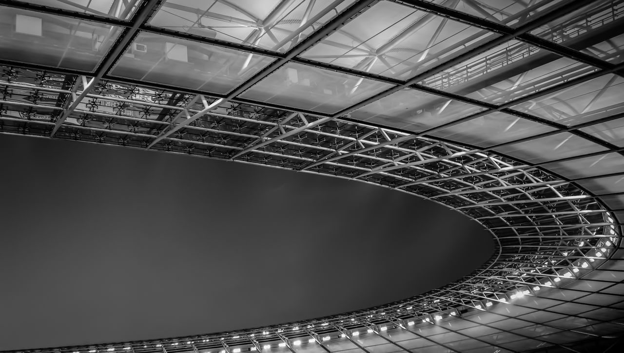 the Roof ... Abstract Architecture Art Berlin Blackandwhite Built Structure Clear Sky Connection Construction Construction Site Dachshund Design Designing Engineering Grid Industry Low Angle View Metallic Modern Monochrome Night No People Roof Stadion Stadium