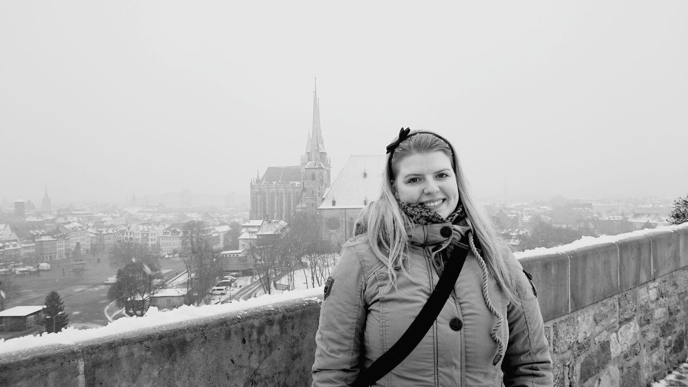 Snow Erfurt Erfurter Dom Cold Sightseeing Black & White