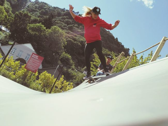 The Half Pipe NotYourCliche One Person Adults Only Low Angle View Sport Mountain Outdoors Sky Young Adult Skill  Extreme Sports Headwear Hair Skateboarding Halfpipe Surf Snowdonia Girl Female Skater Skatergirl Love Yourself