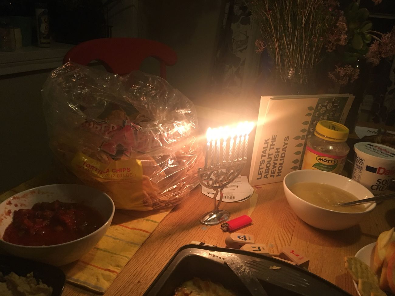 Food And Drink Celebration Tradition No People Table Home Interior Food Night Chanukah Hannukah Jewish Judaism Mexican Food Chips And Salsa Chips Holiday Festival Of Lights Menorah Candles Feast December