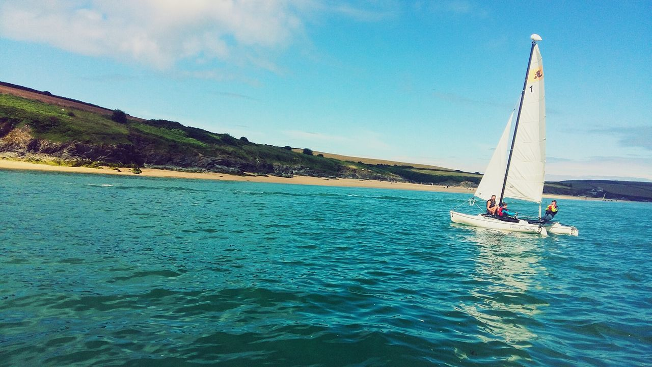 nautical vessel, transportation, sea, water, nature, day, sky, mode of transport, beauty in nature, outdoors, blue, scenics, adventure, men, sailing, one person, people