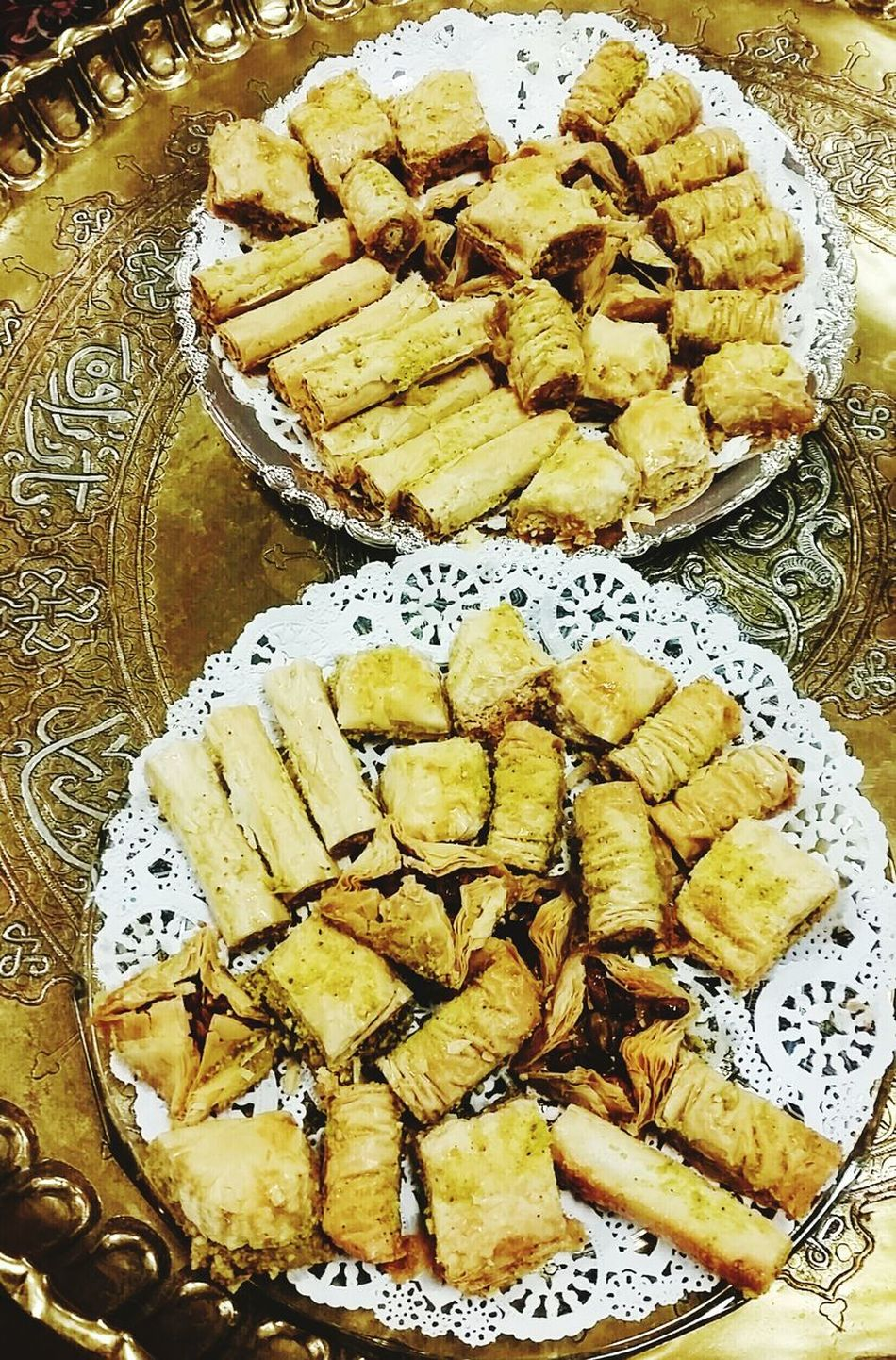 Food Food And Drink Freshness Close-up Baklava Brass Metal Tray Engraved Metal Desserts Pastries Middle Eastern Food