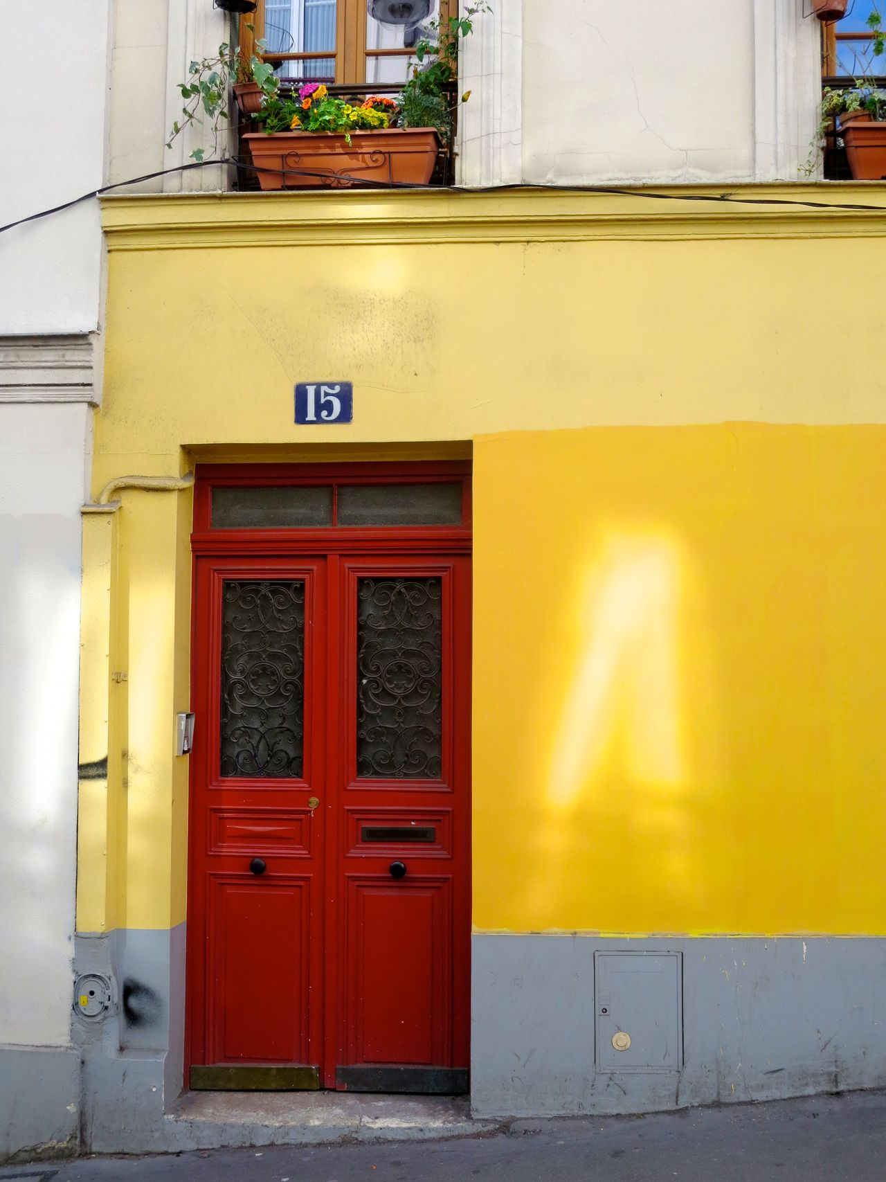 Architectural Feature Architecture Building Exterior City Door Entrance Red Door Slanted Yellow