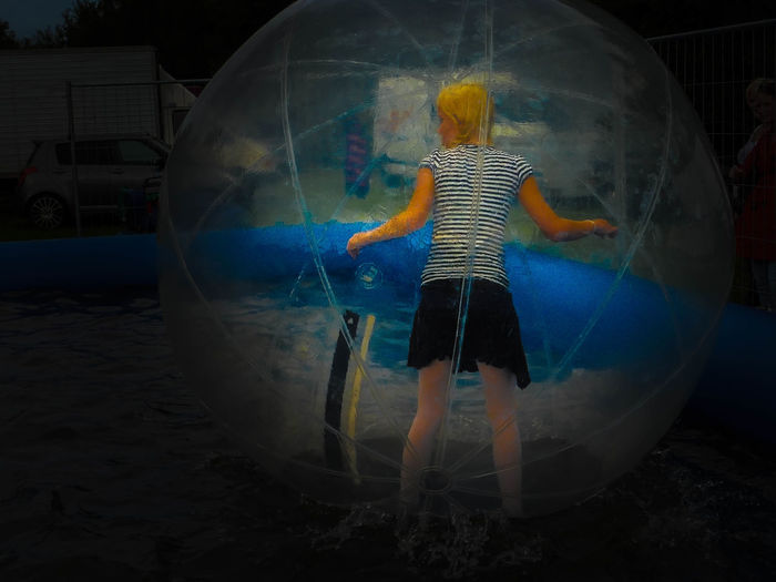 Openair Baloon Game Girl Lifestyles One Person Playing Rear View Standing