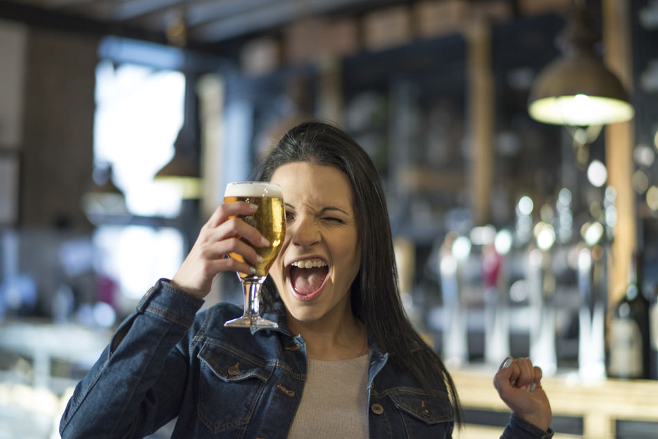 Alcohlday Alcohol Bar Beer Close-up Day Drink Drinking Focus On Foreground Food And Drink Front View Happy Headshot Holding Leisure Activity Lifestyles One Person Outdoors People Real People Restaurant Woman Woman Portrait Young Adult Young Women