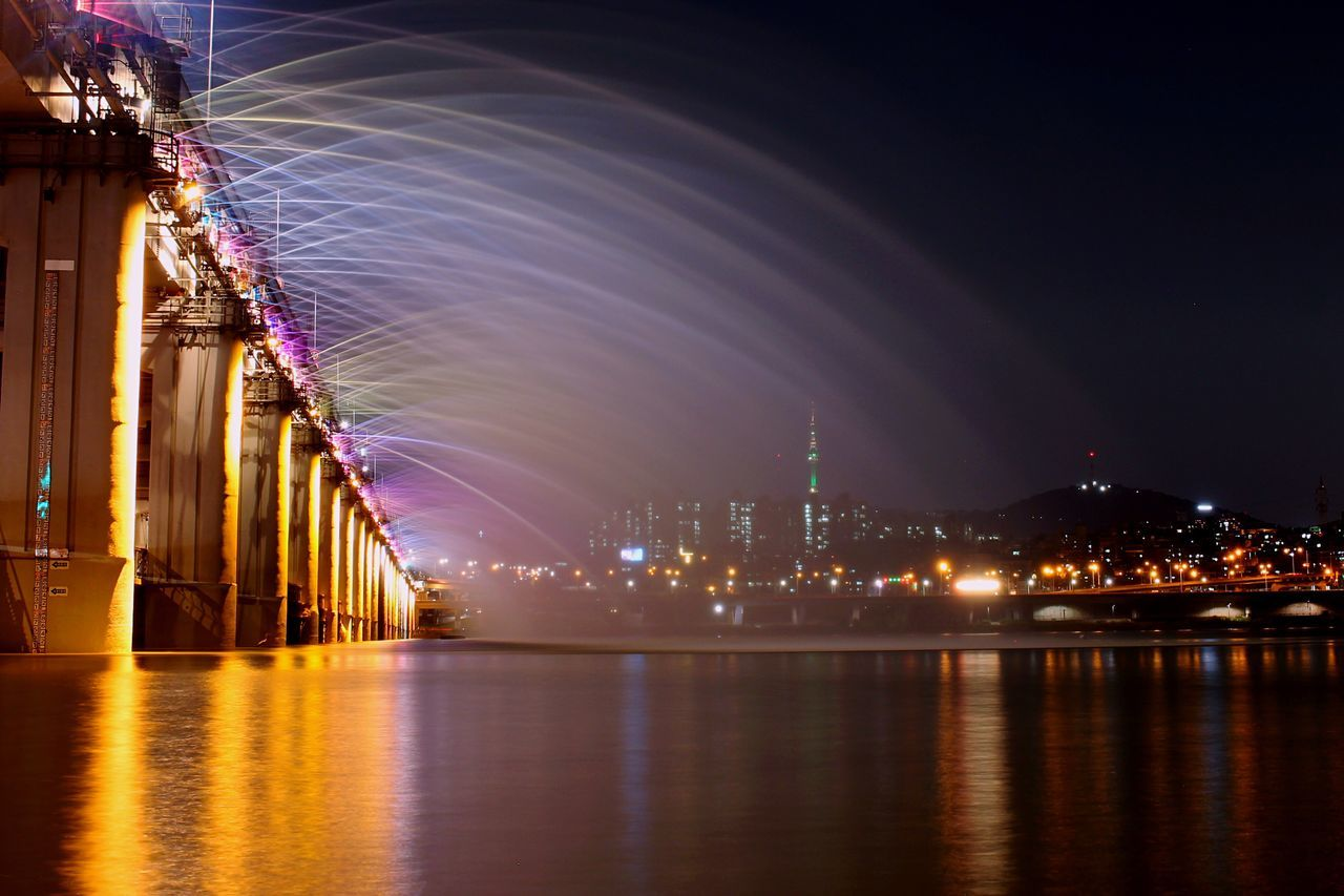 Banpo Bridge Banpo Bridge Illuminated Night Waterfront City Tranquility City Life Travel Destinations Water Reflection