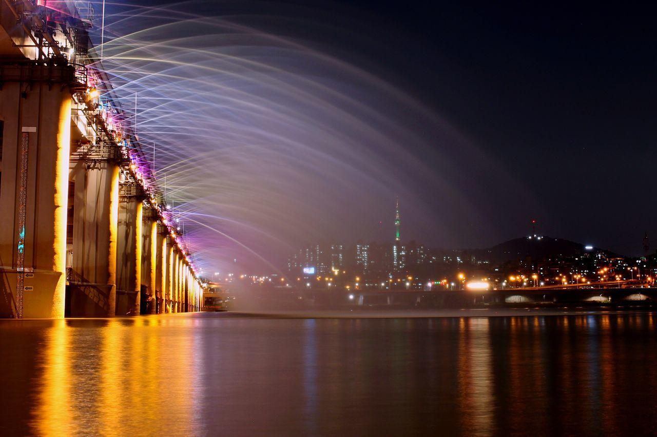 Banpo Bridge Banpo Bridge Illuminated Night Waterfront City Tranquility City Life Travel Destinations Water Reflection