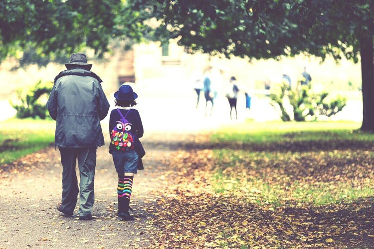 Walking to scool with Grandpa