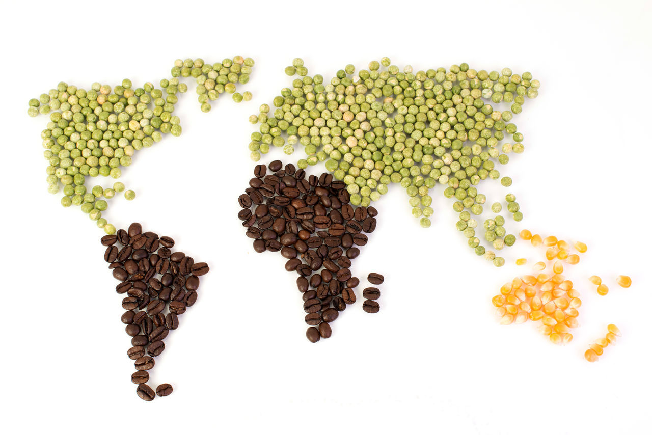 World map with food as Cut Africa Australia China Coffee Bean Continent Cooking Corn Eating Europe Food Food Industry Global Trade Globe Harvesting India Ingredient Natural Resources Nutrition Peas Regions Spice Market Spices USA Vegetables World Map