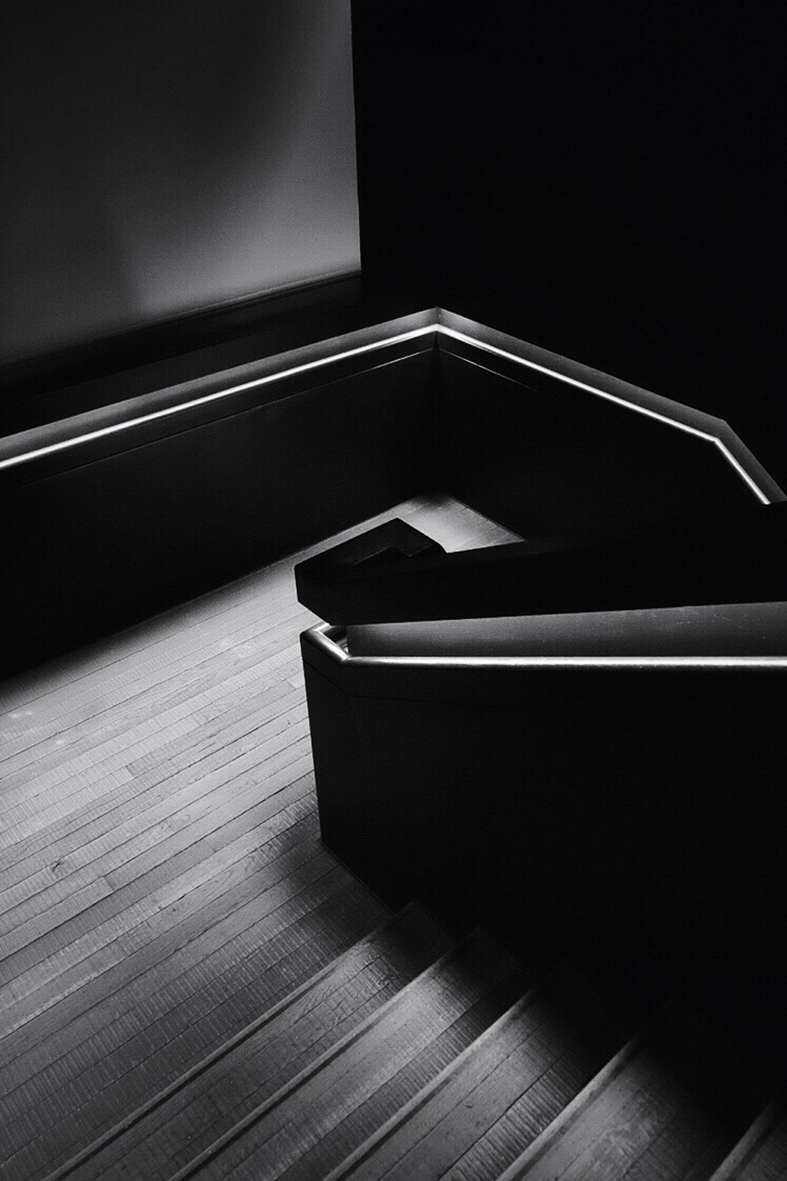 indoors, close-up, absence, empty, no people, high angle view, table, still life, single object, chair, book, copy space, seat, wood - material, dark, part of, selective focus, night, steps, music