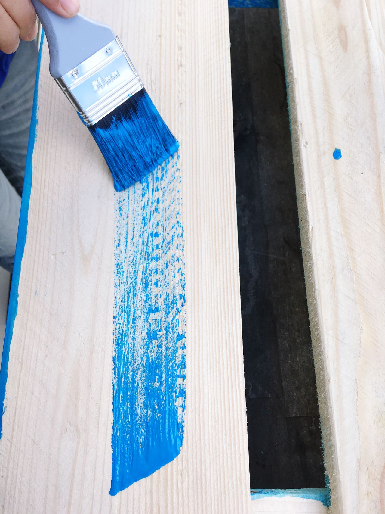 Blue Textile Indoors  Day One Person Close-up People Work Tool Working Painting Blue Paint Brush