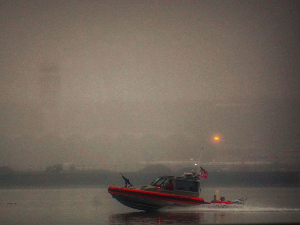 Coasting with the guards Coast Guard Boats Boat At The Airport Potomac River River Foggy Fog Foggy Morning