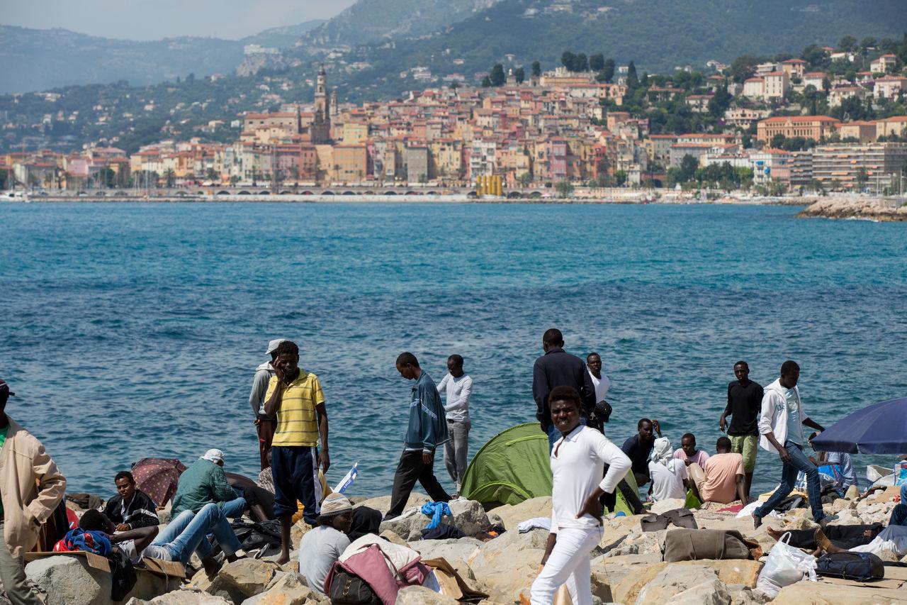 Immigrants at Ventimiglia, Italy, on June 17th. 2014. Conflicts Immigrants Immigration Politics Racism Razzia Refugees Ventimiglia