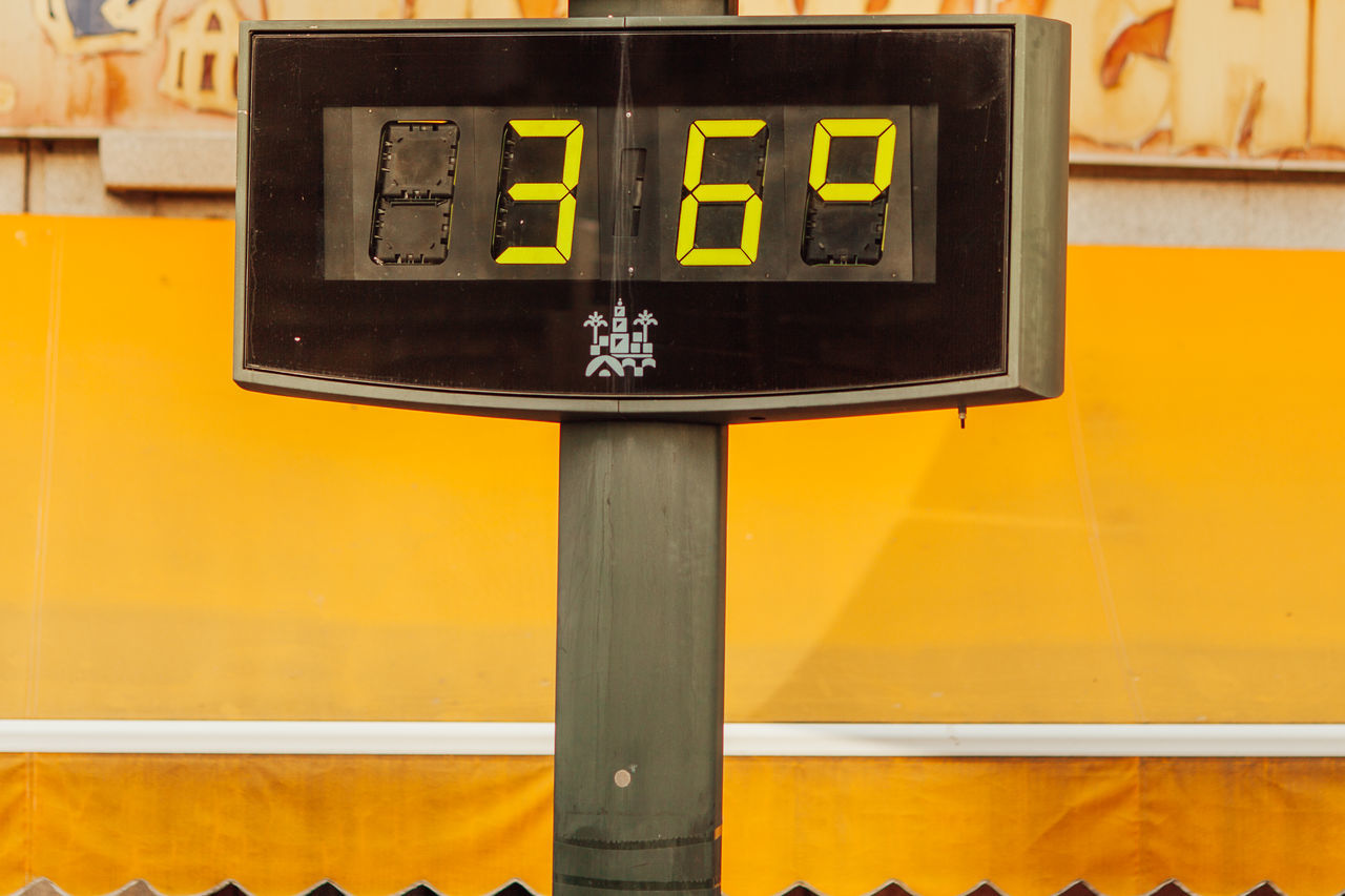 Cordoba, Andalucia, Spain 36 Celsius Close-up Court Day Degree Digital Display No People Outdoors Sport Temperature Thermometer Yellow