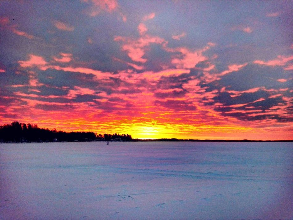 Today sunrise Beauty In Nature Dramatic Sky Sky Nature Outdoors Cloud - Sky Landscape Winter Landscape Naturebeauty Landscape_photography Photography Cloudscape Naturelovers Colorful Wintertime Photographer Finnish Nature Snow ❄ Nature Photography Weather Winterwonderland Snow Cold Temperature Lake View Winter