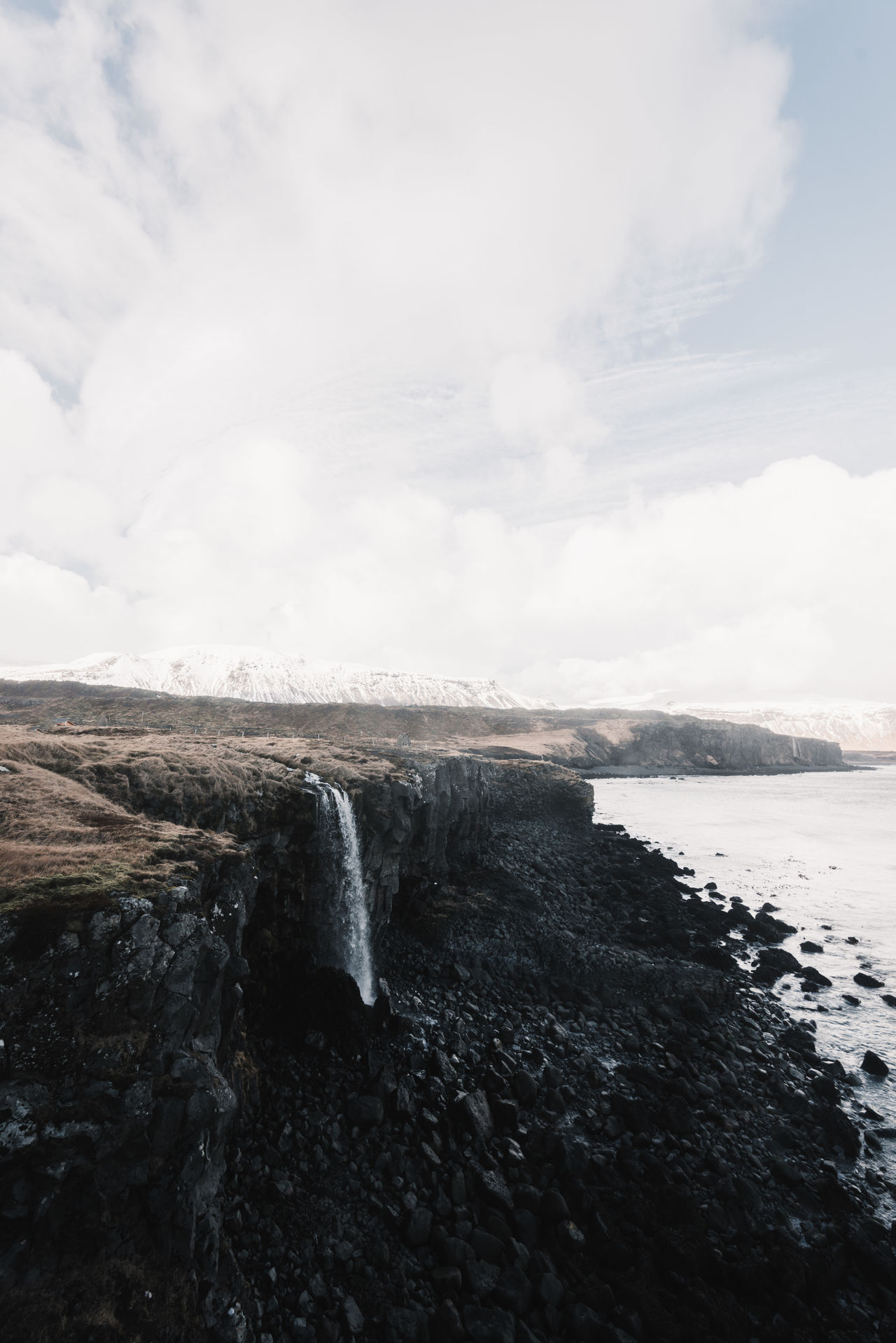 Iceland coast landscape with rough sea Beauty In Nature Day Horizon Over Water Motion Nature No People Outdoors Rock - Object Scenics Sea Sky Tranquil Scene Tranquility Water Waterfall