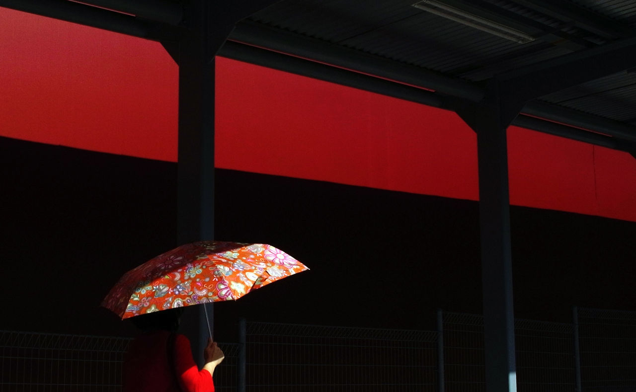 day light and shadow one person people red color shadow umbrella walking around the city Fresh on Market 2017