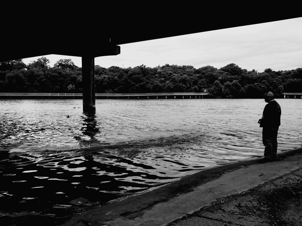 Festival Beach The Street Photographer - 2017 EyeEm Awards Black And White Photography Outdoors City Austin,tx Under A Bridge RC A Man And His Toys Ladybird Lake Rc Boat Underpass Hobbies One Man Only Festival Beach