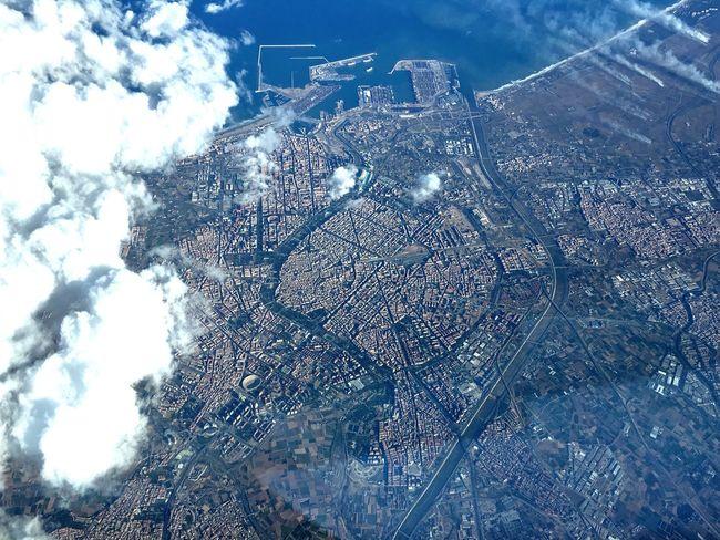 Aerial Aerial View City Clouds Coastline Harbor Old Town Valencia, Spain