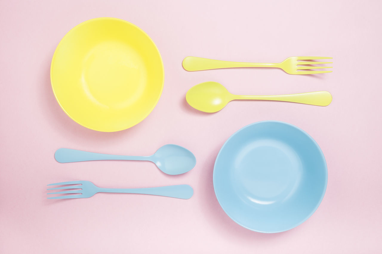 Abstract Background Blue Closeup Color Concept Cutlery Eating Fork Isolated Minimalist Objects Pink Color Plate Saturated Service Silverware  Spoon Still Life Surrealism Too Top View Utensils Vintage Yellow
